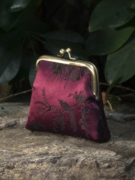 Oriental Bird Pattern Silk Purse--Dark Purple
