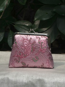 Delicate Fish Pattern Silk Purse--Pink