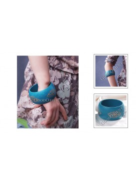 Blue Wide Wooden Bangle