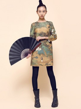 Delicate High-grade Printed Chinese Dress