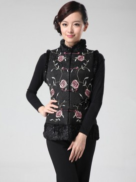 Delicate Embroidery Floral Women Vest