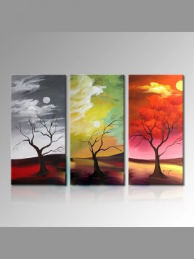 Abstract Hand-Painted Trees Pattern Oil Painting