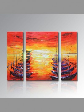 Aesthetic Hand-Painted Sunset Oil Painting