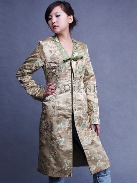 Beige Silk Brocade Long Coat