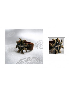 Leather + Brass Water Caltrop Ring