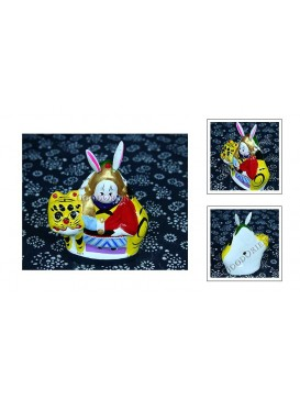 A Rabbit Riding on A Kylin Clay Figurine