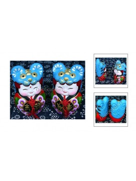Chinese Double Clay Figurine Dolls Set---Blue Tiger Hat