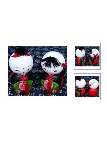 Chinese Double Clay Figurine Dolls Set