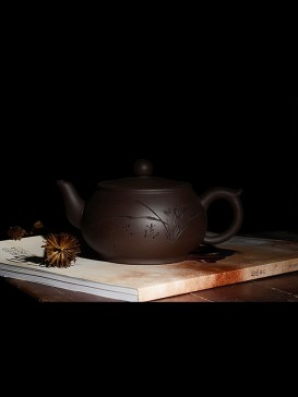 Carved Bamboo Purple Sand Teapot