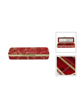 Red Quadrate Brocade Cosmetic Case