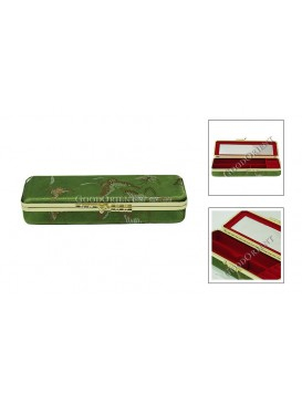 Green Quadrate Brocade Cosmetic Case