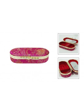 Fuchsia Elliptic Brocade Cosmetic Case