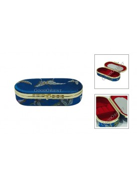 Navy Elliptic Brocade Cosmetic Case