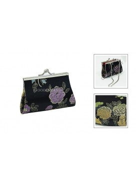 Black Peony Brocade Cosmetic Bag