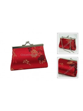 Red Peony Brocade Cosmetic Bag
