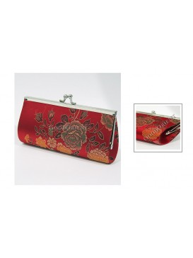 Red Peony Long Style Brocade Cosmetic Bag