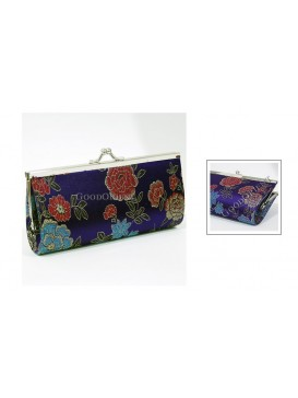 Navy Peony Long Style Brocade Cosmetic Bag