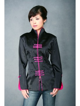Black + Fuchsia Satin Jacket