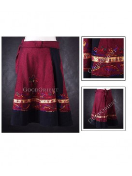Dark Red Short Nepal Swathing Skirt