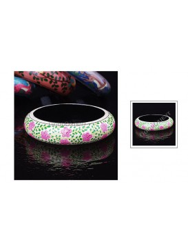 Nepal Pink Flower Wooden Bangle
