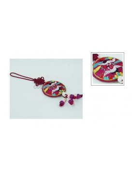Handmade Embroidered Hanging Auto Decoration---Crane
