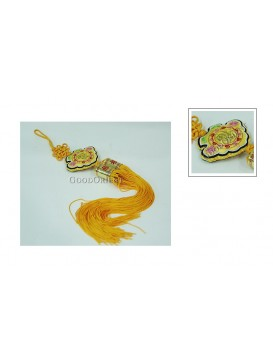 Handmade Embroidered Hanging Auto Decoration---Yellow Fu