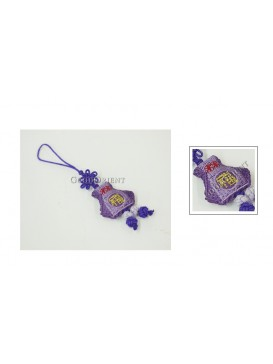 Handmade Embroidered Cellphone Chain---Lilac Vase