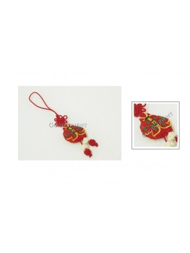 Handmade Embroidered Cellphone Chain---Red Jacket
