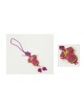 Handmade Embroidered Cellphone Chain---Fuchsia Coat