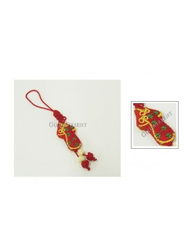 Handmade Embroidered Cellphone Chain---Red Qipao