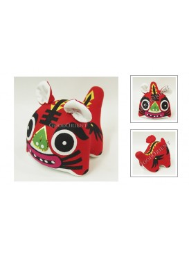 Chinese Handmade Patchwork Tiger Toy---Red