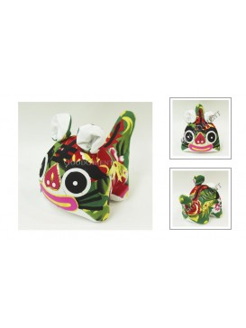 Chinese Handmade Patchwork Tiger Toy---Green