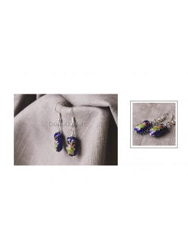 Cute Small Frog Cloisonne Earrings
