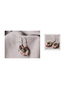 Brow Floral Cloisonne Earrings