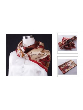Calligraphy + Characters Silk Square Scarf