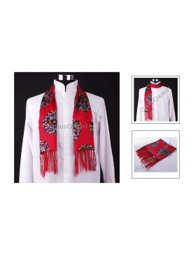 Colorful Dragon Print on Red - Mens Scarf