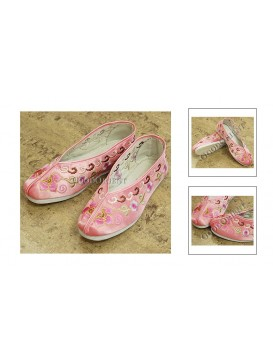 Pink Lotus Embroidered Deep Shoes