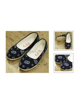 Handmade Dyed Navy Cloth Shoes