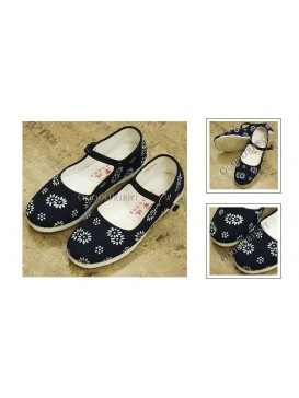 Band Fastener Handmade Dyed Navy Cloth Shoes