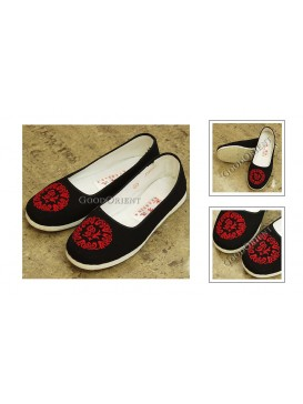 Good Fortune Black Embroidered Blessing Cloth Shoes