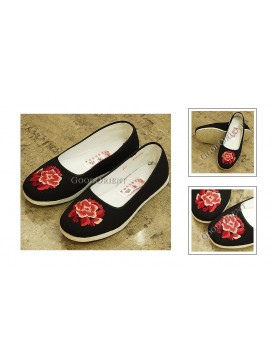 Peony Black Embroidered Peony Cloth Shoes
