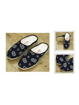 Dyed Navy Painted Floral Slippers