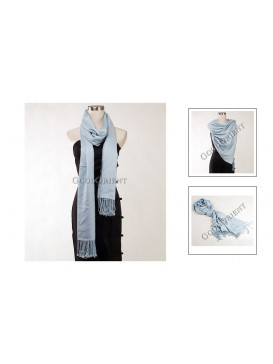 Thin Solid Color Pashmina Shawl---Pale Blue