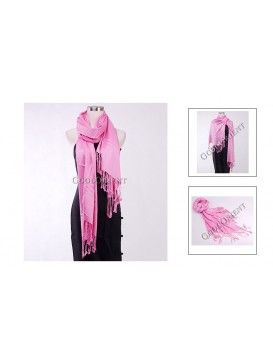 Thin Solid Color Pashmina Shawl---Pink