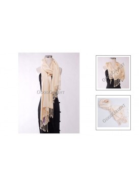 Thin Solid Color Pashmina Shawl---Pale Yellow