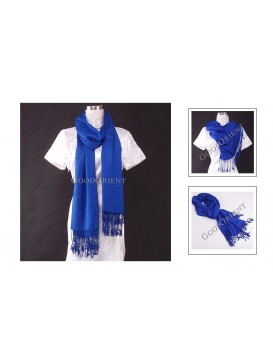 Thin Solid Color Pashmina Shawl---Blue