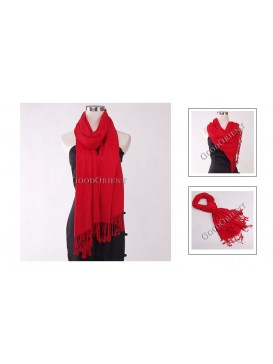 Thin Solid Color Pashmina Shawl---Bright Red