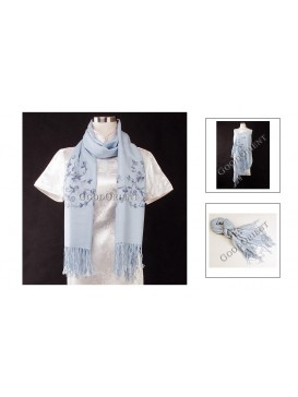 Embroidered Flower Pashmina Shawl---Pale Blue