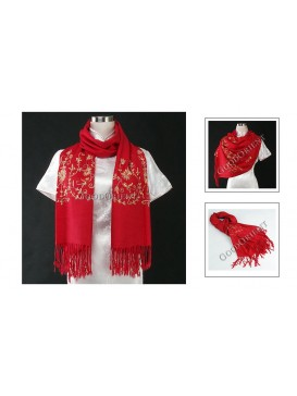 Embroidered Flower Pashmina Shawl---Bright Red