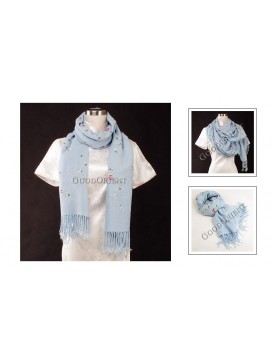 Small Floral Embroidery Pashmina Shawl---Pale Blue